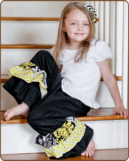 Ruffled Pants - Yellow/Black