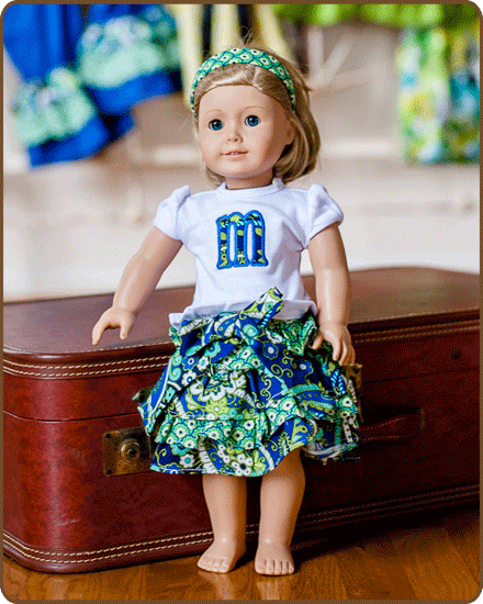 Doll Ruffled Skirt and/or Embroidered Shirt - Blue/Green
