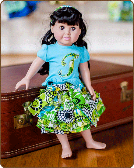 Doll Ruffled Skirt and/or Embroidered Shirt - Green/Blue