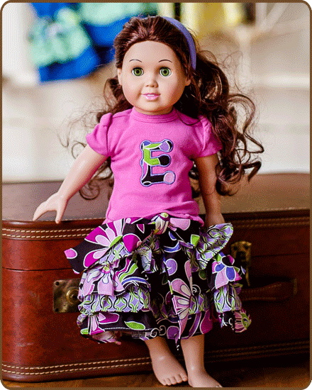 Doll Ruffled Skirt and/or Embroidered Shirt - Purple