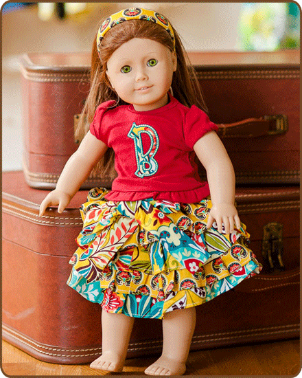 Doll Ruffled Skirt and/or Embroidered Shirt - Yellow/Red