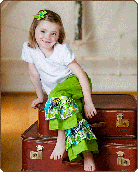 Ruffled Pants - Green/Blue