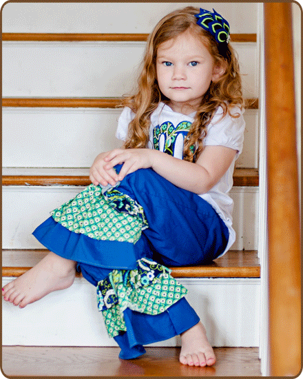 Ruffled Pants - Blue/Green